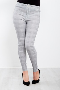 Grey Chequered High Waist Skinny Fit Jeans