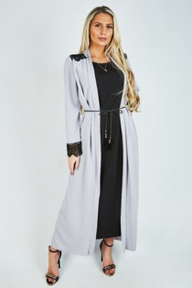 Grey Lace Trim Belted Duster Maxi Dress
