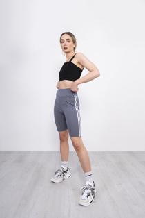 Grey Double Stripe Cycling Shorts