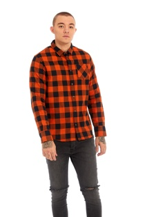 Mens Orange Bright Checked Shirt