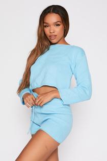 Blue Knitted Shorts Lounge Set