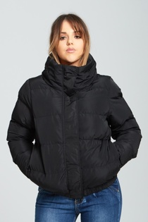 Womens Black High Neck Quilted Puffer Jacket