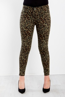 Khaki Leopard High Waist Skinny Jeans
