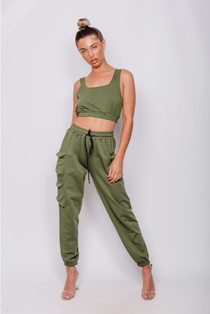 Khaki Crop Top and Cargo Jogger Lounge Set
