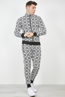 Mens Black And White Printed Funnel Neck Skinny Tracksuit