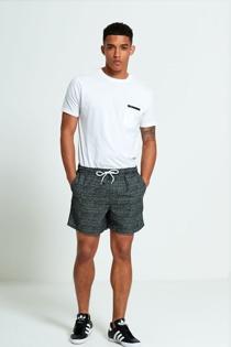Mens Black And White Spotty Swim Shorts