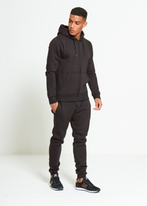 Mens Black Block Hooded Tracksuit