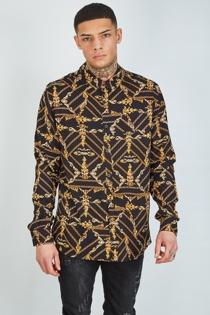 Mens Black Chain Print Long Sleeve Shirt