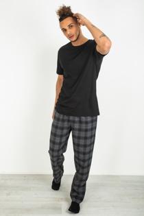 Mens Black Checked Pyjama Set