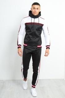 Mens Black Colour Block Stripe Hood Skinny Tracksuit