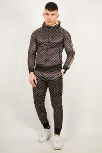 Mens Black Diamond Greek Side Stripe Tracksuit Preorder