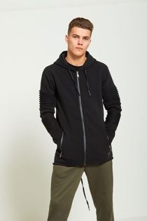 Mens Black Ribbed Sleeve Long Hoodie