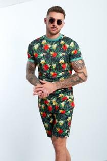 Mens Black Tropical Printed T-shirt And Shorts Set