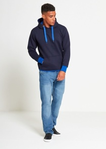 Mens Blue Contrasting Pull Over Hoodie