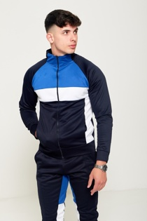 Mens Blue Navy and White Collared Tracksuit