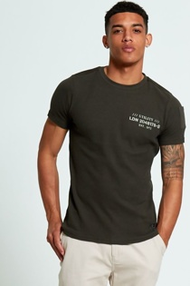 Mens Green Textured T-Shirt