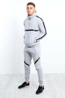 Mens Grey Black Stripe Pull Through Hooded Tracksuit
