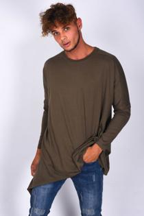Mens Khaki Crew Neck Longline T-Shirt