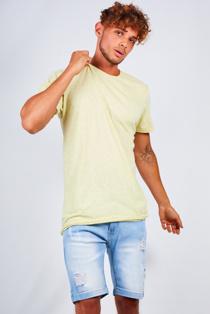 Mens Lemon Speckled Nep Crew Neck T-Shirt