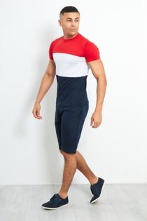 Mens Navy Colour Block T-shirt Shorts Set