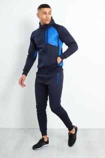 Mens Navy Contrast Zip Side Panel Skinny Fit Tracksuit