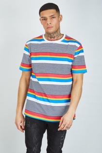 Mens Navy Multi Stripe Crew Neck T-Shirt