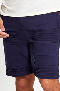 Mens Navy Ribbed Padding Hoop Sweat Shorts