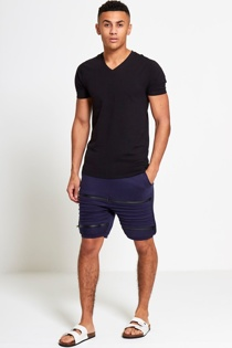 Mens Navy Ribbed Zip Detail Shorts