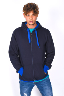 Mens Navy With Blue Contrast Zip Through Hoodie