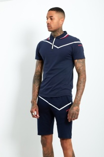 Mens Navy Zip Placket Stripe Detail Polo Shorts Set