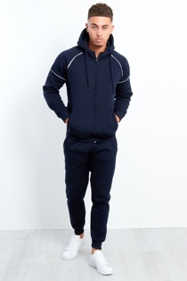 Mens Navy Zip Through Piping Hooded Tracksuit