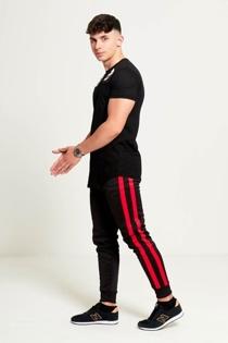 Mens Red Aarhon Double Stripe Jogging Bottom