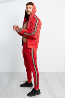 Mens Red Diamond Greek Side Stripe Tracksuit