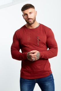Mens Red Zip Pocket Front Long Sleeve T-shirt