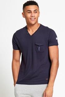Mens V Neck Button Detail T-Shirt