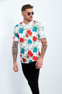 Mens White Floral Print Polo Shirt