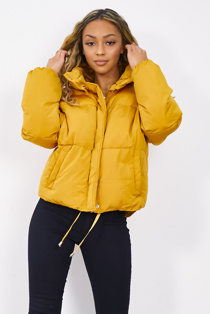 Mustard Padded High Neck Cropped Puffer Jacket