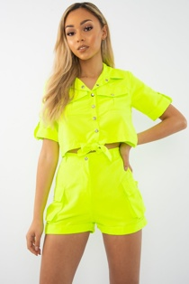 Neon Lime Button Front Utility Pocket Shirt And Shorts Set