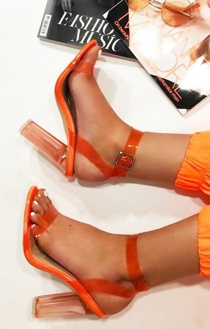 Neon Orange Clear Strappy Heels