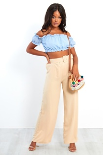 Nude Belt Buckle Wide Leg Trousers
