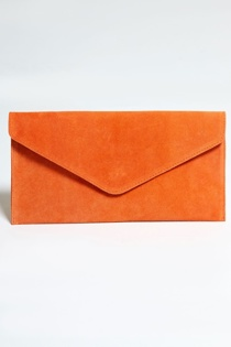 Orange Suede Envelope Clutch Bag