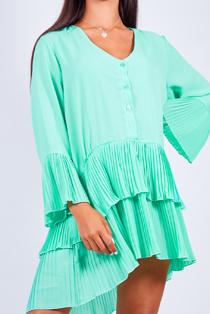 Pastel Green Ruffle Pleated Smock Mini Dress