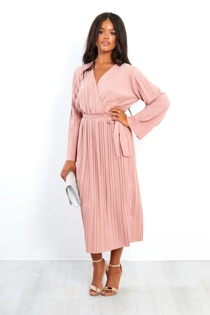 Pink Pleated Cross Over Belted Dress