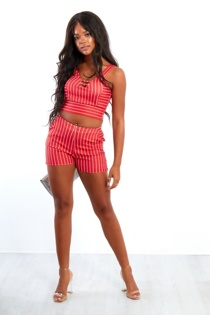 Red And White Striped Crop Top And Shorts Set
