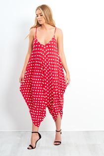 Red Polka Dot Harem Jumpsuit