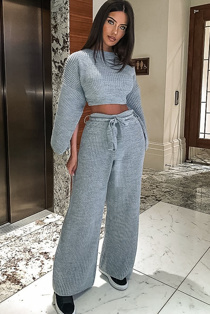 Grey Chunky Knit Loungewear Set