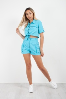 Turquoise Cargo Crop Shirt and Shorts Co-ord Set