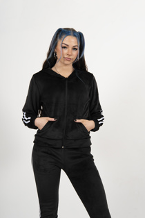 Black Velvet Stripe Zip Tracksuit