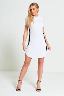 White Bodycon Black Panel Mini Dress