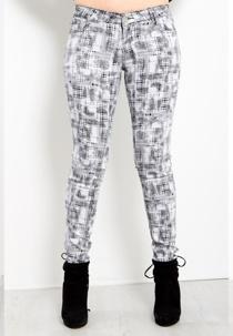 White Check Skinny Jeans